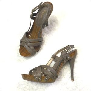 Sexy slingback Wood Sandal Heels